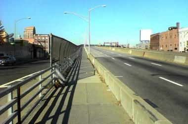The Pulaski Bridge crossing from Brooklyn to Queens.