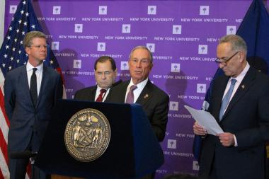 Mayor Michael Bloomberg was joined by federal officials to announce the release of an additional $1.3 billion in Sandy aid on Monday, October 28.