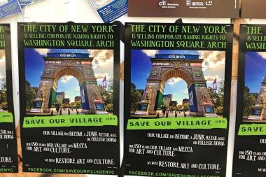These posters were plastered throughout Greenwich Village starting in late September 2013, but a Parks Department official said they're inaccurate.