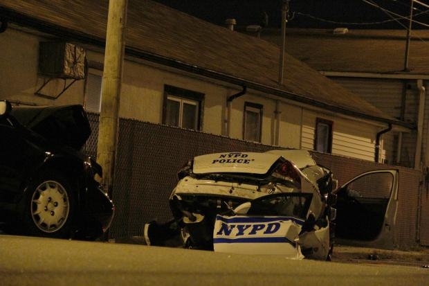 Two were seriously hurt in a crash involving a squadcar in the Rockaways Wednesday, officials said.