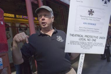 Members of the International Alliance of Theatrical Stage Employees went on strike Wednesday, Oct. 2, 2013, forcing Carnegie Hall to cancel opening night for the first time in its 122-year history.