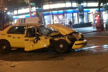 A taxi driver was seriously injured after a crash in Midtown Friday morning, officials and witnesses said.