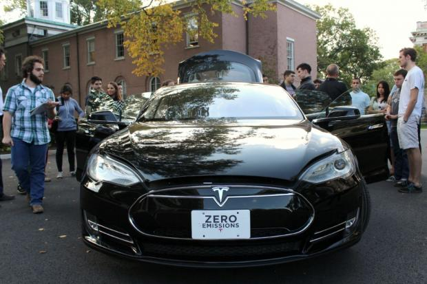 Students in Michael Pirson's sustainable-business class got to test ride a Tesla Model S.