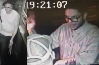 This man was caught on surveillance camera stealing a purse in the Christopher Street jazz club Fat Cat on Oct. 12, 2013.