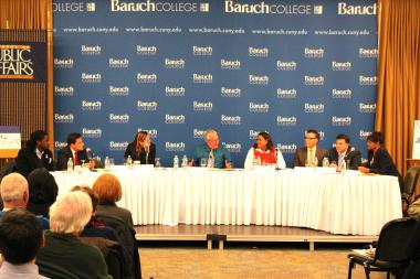 The seven council members running to be the next speaker discussed their potential relationship with Mayor-elect Bill de Blasio during a forum at Baruch College on Wednesday, November 20.