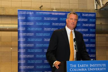 Mayor-elect Bill de Blasio continued to push forward his plan for universal pre-K and expanded after-school programs for middle school students during his remarks at a conference at Columbia University on Monday, Nov. 25.