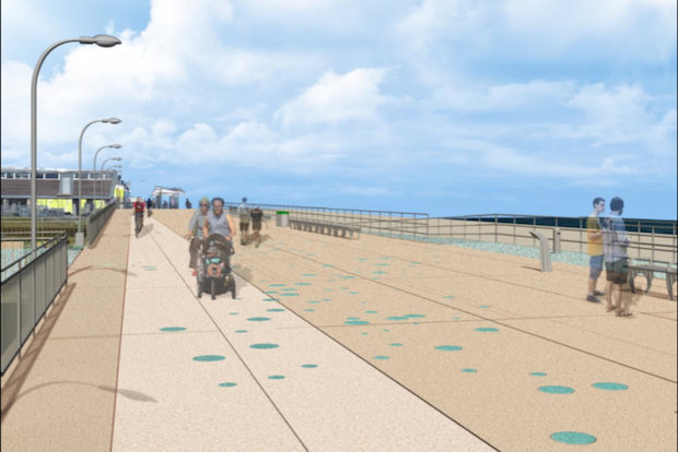 The Rockaway Beach boardwalk construction should begin by the winter 2014, according to Parks. They presented preliminary renderings of what the future boardwalk could look like.