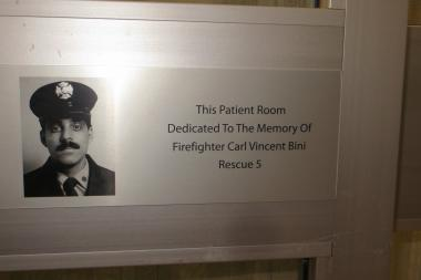 Staten Island University Hospital North named a patient room inside their burn unit after Carl V. Bini, a firefighter with Rescue 5 who died in 9/11.