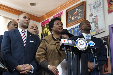 "Congresswoman Yvette Clark, Congressman Hakeem Jeffries, and Brooklyn DA-elect Ken Thompson joined other elected officials and community leaders in calling for an end to alleged ""knockout game"" attacks in Brooklyn."