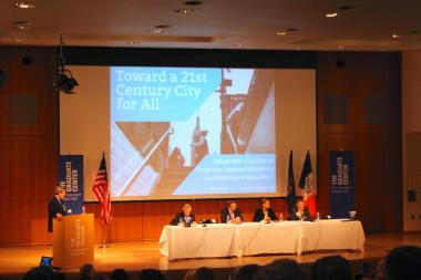 "Panelists at the CUNY Graduate Center discuss progressive priorities for the de Blasio administration during the ""Toward a 21 st  Century City for All"" conference on Monday, November 11."