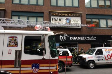 A fire broke out in the rear of a Duane Reade blocks from Times Square, the FDNY said.