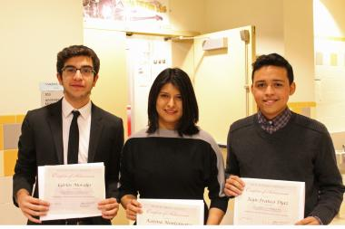 (L-R) Carlos Morales, Karina Montenegro and Jean-Franco Diaz are this year's recipients of the Dyckman Institute Scholars award.