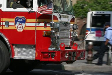 There was a fire in a construction trailer near 433 E. 66th St. at about 9 a.m. Monday.