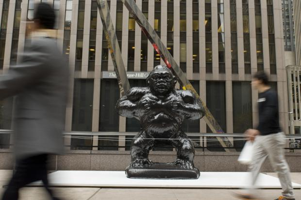 "A sculpture by the artist Jeff Koons, ""Gorilla,"" went on display in Midtown on Monday, Nov. 4, 2013."