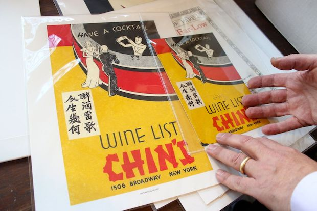 Collector Harley Spiller estimates he has more than 10,000 Chinese takeout menus in his Woodside studio.