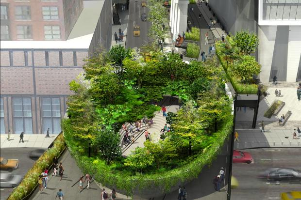 The much-anticipated third section will feature a bowl-shaped section that's lush with greenery.