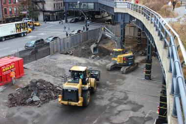 The first section of the project will replace about 3 feet of soil under the High Line.