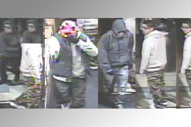 Four men stole necklaces, rings, chains and cash from Virani Jewelers on Halloween, police said.