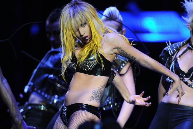 Lady Gaga performs at the Staples Center in Los Angeles on Aug. 11, 2010.