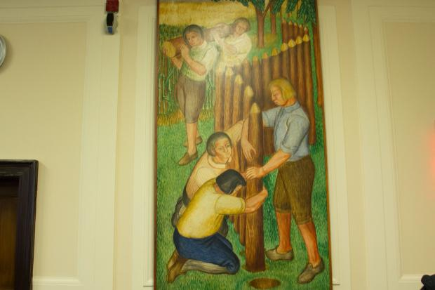 Five murals by artist Axel Horn, painted during the Great Depression, were restored and hung in Supreme Court.