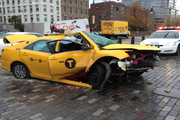 A man was hit by a cab near the West Side Highway Friday morning.