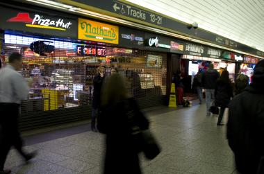 "A combination  Pizza Hut  and  Taco Bell  in Penn Station, which also share's space with Colombo's Yogurt,  Nathan's  and  Tim Horton's  were closed for racking up dozens of violations, including for ""live roaches present in facility's food and/or non-food areas,"" according to the DOH."