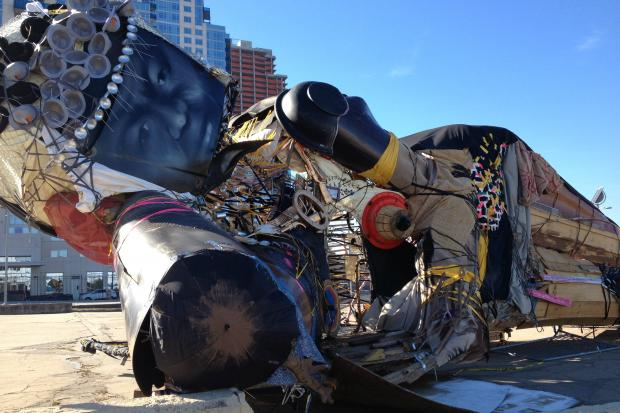 An sculpture of recycled objects and political messages appeared in East River State Park.
