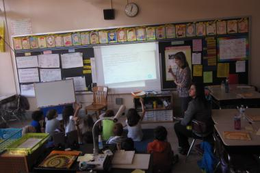A fourth-grade class at Park Slope's P.S. 107 dissects a math problem.