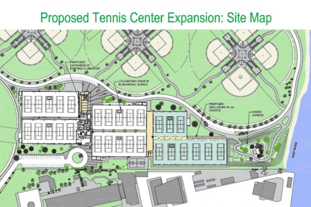 A private Randall's Island tennis center that includes an academy run by tennis champion John McEnroe plans to improve two parks in East Harlem and the South Bronx, increase the hours of tennis instruction for local kids and light two ball fields on the island in exchange for being allowed to build nine new courts on the site of what is now a baseball field.
