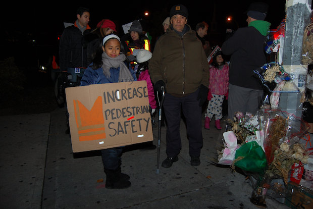 "Marchers shouted ""Obey the lights, Jackson Heights"" and ""Drivers slow down, put your phones down."""