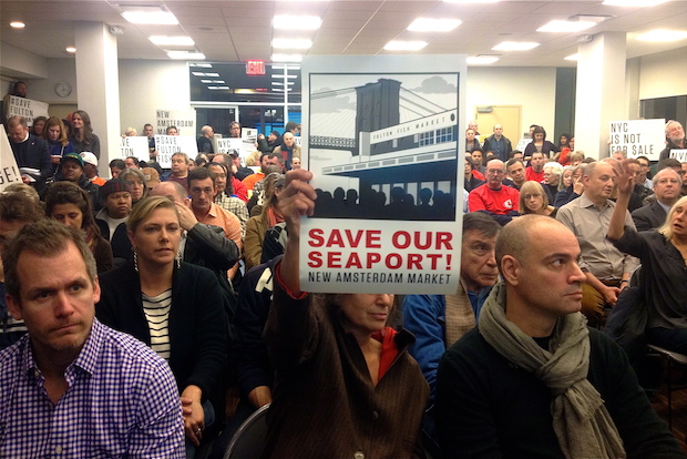 Residents booed Seaport developer Howard Hughes Corporation's recently revealed plans for a 50-story luxury tower during a packed CB1 meeting on November 19, 2013.