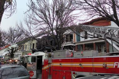 A fast-moving fire swept through a Taylor Avenue home early Tuesday, the FDNY said.