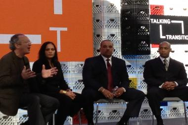From left, Chris Stone of the Open Society Foundations, Susan Shah of the Vera Institute of Justice, former Boston Police Chief Ron Davis, and Baltimore Police Commissioner Anthony W. Batts.