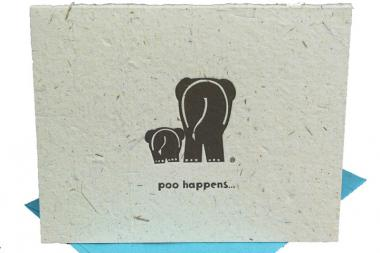 Mr. Ellie Pooh will sell stationery made of 50 percent elephant dung at the holiday market this year.