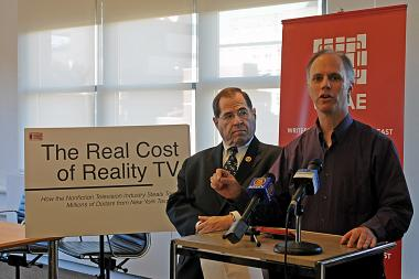 David Van Taylor and Congressman Jerold Nadler speak about reality TV writer-producers not being paid overtime during a press conference at the Writers Guild of America East headquarters at 250 Hudson Street, Nov. 18, 2013.