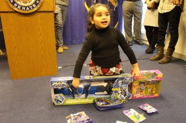 Senator Kirsten Gillibrand and the New York Public Interest Research Group released a report Sunday warning parents about hazardous toys .