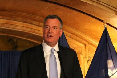 Mayor-elect Bill de Blasio will take his oath of office at City Hall on Jan. 1, 2014.