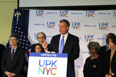 Mayor-elect Bil de Blasio said ample space and teachers were available to begin the rollout of universal pre-K next fall during a press conference on December 19, 2013.