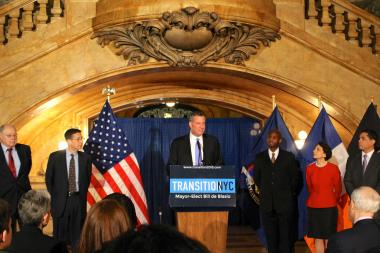 Mayor-elect Bill de Blasio naming five appointees to his administration on New Years Eve.