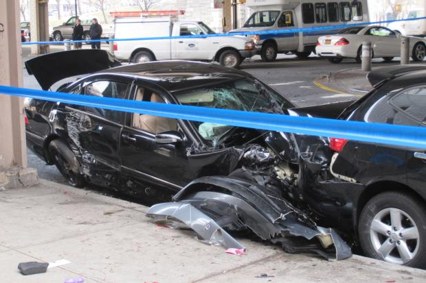 Five people were injured after a car crash under the Brooklyn-Queens Expressway in Williamsburg Tuesday morning.