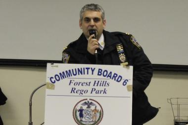 Capt. Thomas Conforti, commanding officer of the 112th Precinct, discussed crime at a recent Community Board 6 meeting.