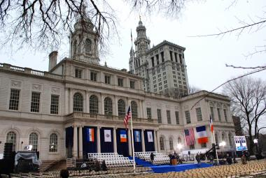 The stage is set for Bill de Blasio's swearing in as the 109th Mayor of the City of New York on New Years Day.