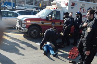 A woman was struck and critically injured on Utica Avenue near Eastern Parkway Thursday afternoon in Crown Heights.