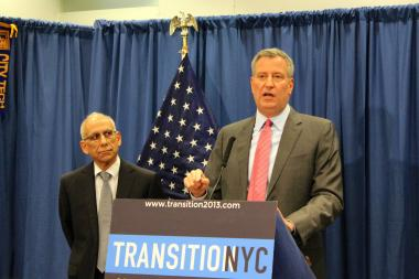 Mayor-elect Bill de Blasio announces Dean Fuleihan as his pick to be budget director on Wednesday, December 18, 2013.