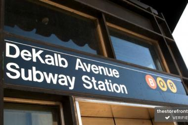 A man tried to steal a woman's cellphone in the DeKalb Avenue station last week after she refused to donate to his basketball organization, police said.