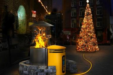 DUMBO tech company Biolite is desiging a state-of-the-art firepit that is planned to warm locals and power DUMBO's holiday tree lights.