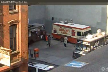 DUMBO food truck cam has a bird's eye view of the happenings at the food truck lot.