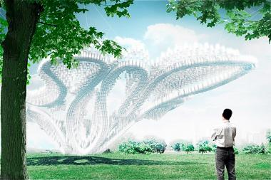 """Governor's Cup,"" the winner of the annual FIGMENT City of Dreams Pavilion contest, features an interwoven canopy of recycled plastic cups and was designed by CDR Studio."
