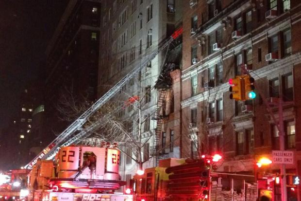 Three people were hurt, one seriously, when a West End Avenue building burst into flames, the FDNY said.