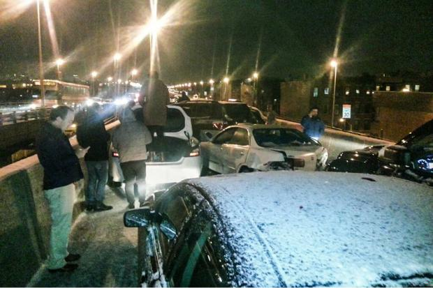 About 20 vehicles collided with one another on the icy Gowanus Expressway Tuesday, police said.